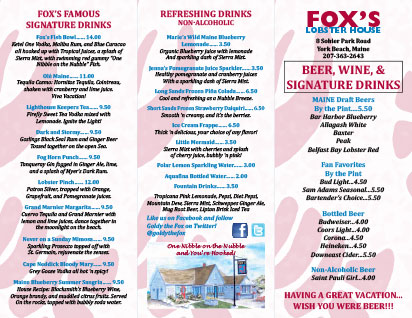 Beverage Menu - Fox's Lobster