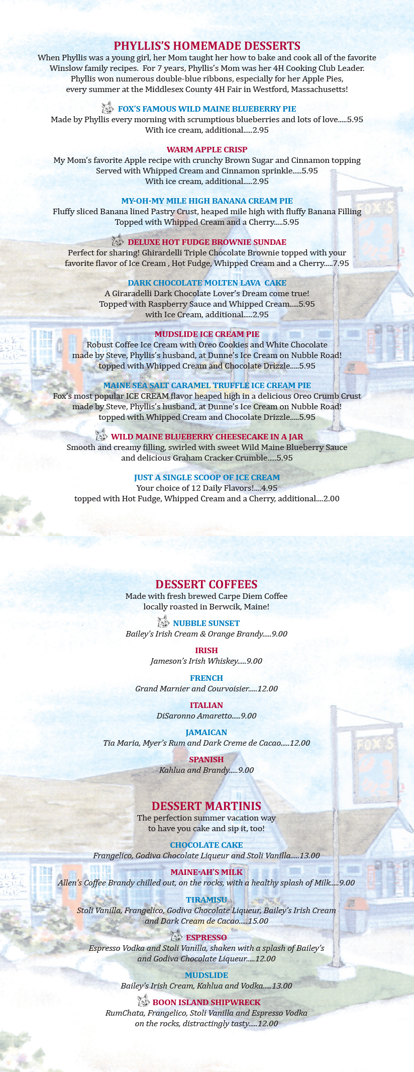 Dessert and Coffee Menu - Fox's Lobster