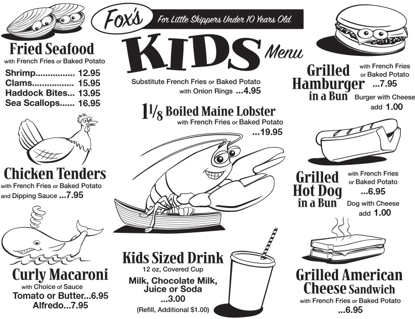 Kid's Menu - Fox's Lobster